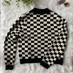 Forever 21 Checkered Sweater Size L Black & White